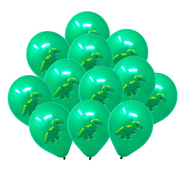 "12"" Latex Balloons 25pcs Green Dinosaur T-Rex"