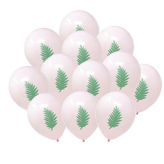 "12"" Latex Balloons 25pcs Light Pink Tropical Luau Palm"