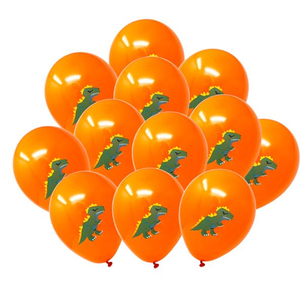"12"" Latex Balloons 25pcs Orange Dinosaur T-Rex"