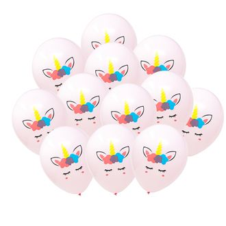 "12"" Latex Balloons 25pcs Pale Pink Flower Crown Unicorn"