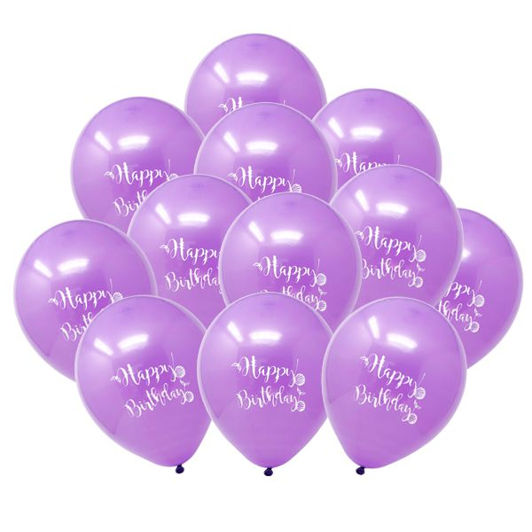 "12"" Latex Balloons 25pcs Purple Mermaid Birthday"