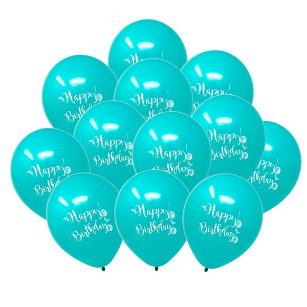 "12"" Latex Balloons 25pcs Teal Mermaid Birthday"