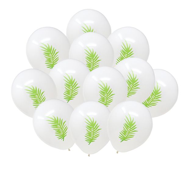 "12"" Latex Balloons 25pcs White Tropical Luau Palm Frond"