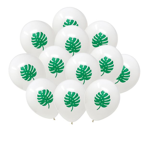"12"" Latex Balloons 25pcs White Tropical Luau Split Leaf"