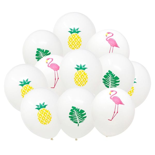 "12"" Latex Balloons 36pcs Pineapple Palm Flamingo Balloon Bouquet"