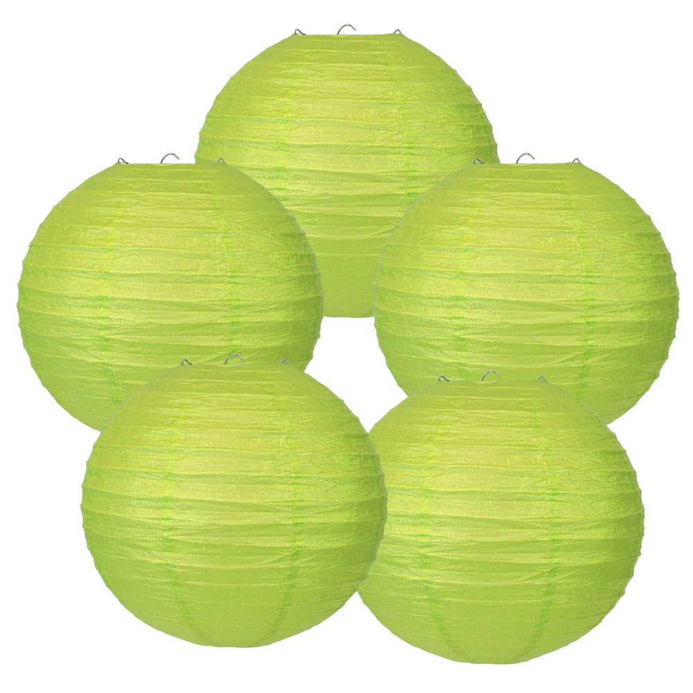 "12"" Light Green Chinese Paper Lanterns (Set of 5, 12-inch, Light Green) - Premier"