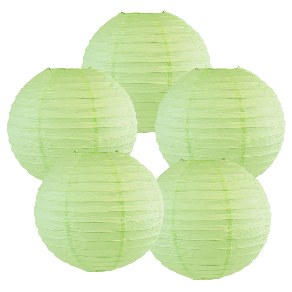 "12"" Mint Green Chinese Paper Lanterns (Set of 5, 12-inch, Mint Green) - Premier"