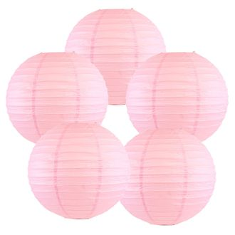 """12"""" Pale Pink Chinese Paper Lanterns (Set of 5, 12-inch, Pale Pink) - Premier"""
