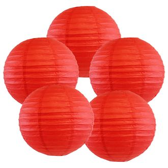 """12"""" Red Chinese Paper Lanterns (Set of 5, 12-inch, Red) - Premier"""