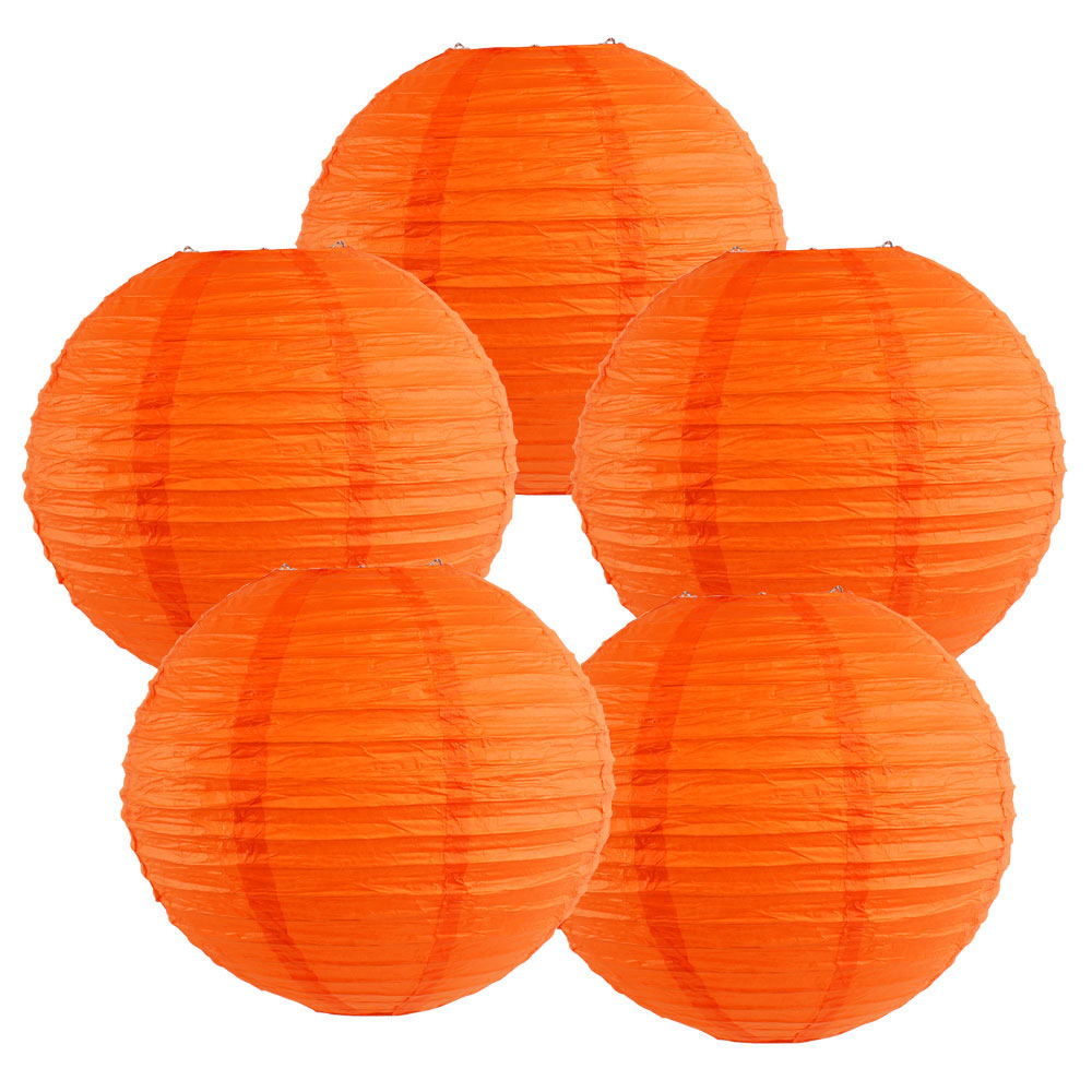 "12"" Red Orange Chinese Paper Lanterns (Set of 5, 12-inch, Red Orange) - Premier"