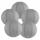 "12"" Slate Gray Chinese Paper Lanterns (Set of 5, 12-inch, Slate Gray) - Premier"