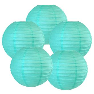 """12"""" Turquoise Chinese Paper Lanterns (Set of 5, 12-inch, Turquoise) - Premier"""