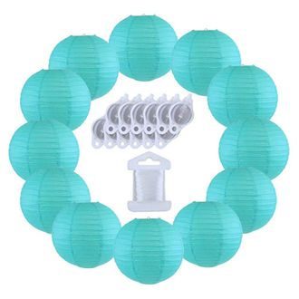 12inch Decorative Round Chinese Paper Lanterns 10pcs w/ 12pc LED Lights and Clear String (Color: Aquamarine Blue) - Premier