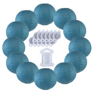 12inch Decorative Round Chinese Paper Lanterns 10pcs w/ 12pc LED Lights and Clear String (Color: Dark Blue) - Premier