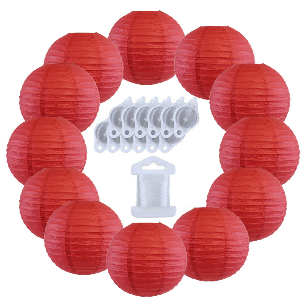 12inch Decorative Round Chinese Paper Lanterns 10pcs w/ 12pc LED Lights and Clear String (Color: Dark Red) - Premier