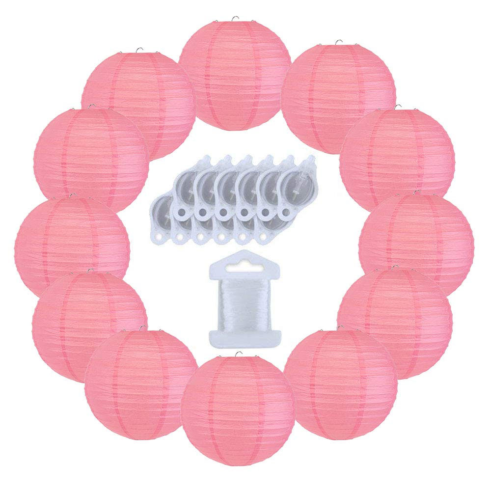 12inch Decorative Round Chinese Paper Lanterns 10pcs w/ 12pc LED Lights and Clear String (Color: Hot Pink) - Premier