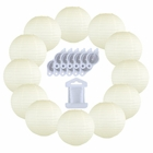 12inch Decorative Round Chinese Paper Lanterns 10pcs w/ 12pc LED Lights and Clear String (Color: Ivory) - Premier