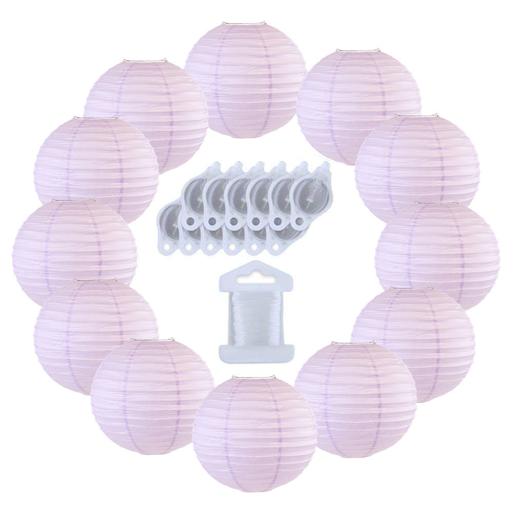 12inch Decorative Round Chinese Paper Lanterns 10pcs w/ 12pc LED Lights and Clear String (Color: Lavender) - Premier
