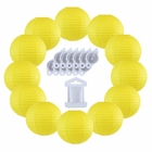 12inch Decorative Round Chinese Paper Lanterns 10pcs w/ 12pc LED Lights and Clear String (Color: Lemon Yellow) - Premier