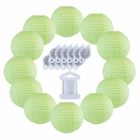 12inch Decorative Round Chinese Paper Lanterns 10pcs w/ 12pc LED Lights and Clear String (Color: Mint) - Premier