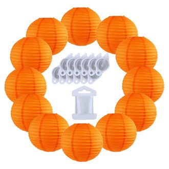 12inch Decorative Round Chinese Paper Lanterns 10pcs w/ 12pc LED Lights and Clear String (Color: Orange) - Premier