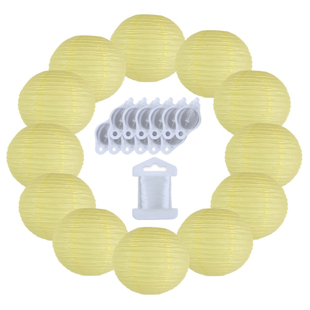 12inch Decorative Round Chinese Paper Lanterns 10pcs w/ 12pc LED Lights and Clear String (Color: Pale Yellow) - Premier