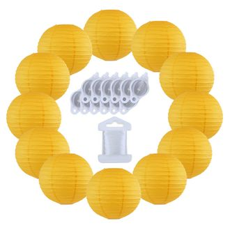 12inch Decorative Round Chinese Paper Lanterns 10pcs w/ 12pc LED Lights and Clear String (Color: Pineapple Yellow)