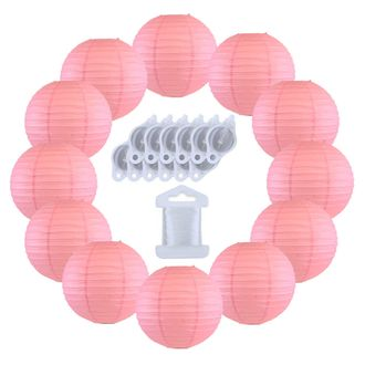 12inch Decorative Round Chinese Paper Lanterns 10pcs w/ 12pc LED Lights and Clear String (Color: Pink) - Premier