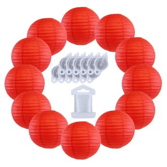 12inch Decorative Round Chinese Paper Lanterns 10pcs w/ 12pc LED Lights and Clear String (Color: Red) - Premier