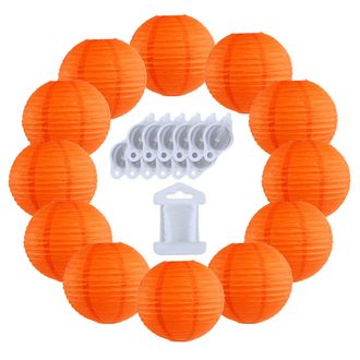 12inch Decorative Round Chinese Paper Lanterns 10pcs w/ 12pc LED Lights and Clear String (Color: Red Orange) - Premier