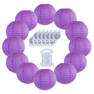 12inch Decorative Round Chinese Paper Lanterns 10pcs w/ 12pc LED Lights and Clear String (Color: Royal Purple) - Premier
