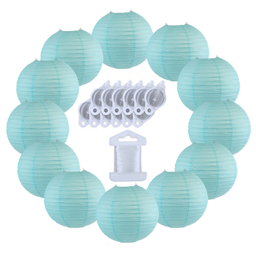 12inch Decorative Round Chinese Paper Lanterns 10pcs w/ 12pc LED Lights and Clear String (Color: Sky Blue) - Premier