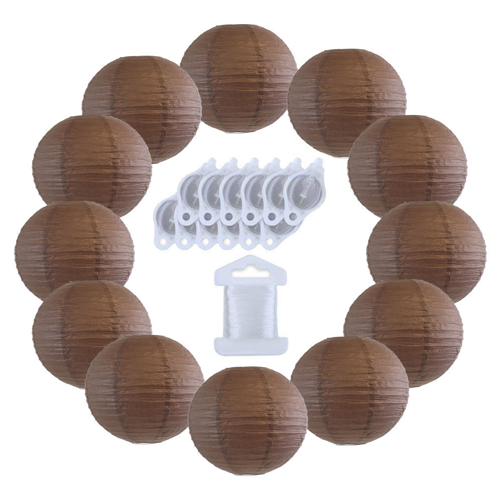 12inch Decorative Round Chinese Paper Lanterns 10pcs w/ 12pc LED Lights and Clear String (Color: Slate Brown) - Premier