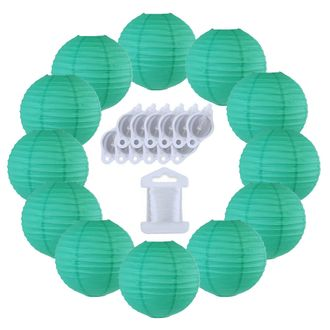 12inch Decorative Round Chinese Paper Lanterns 10pcs w/ 12pc LED Lights and Clear String (Color: Teal Blue Green) - Premier