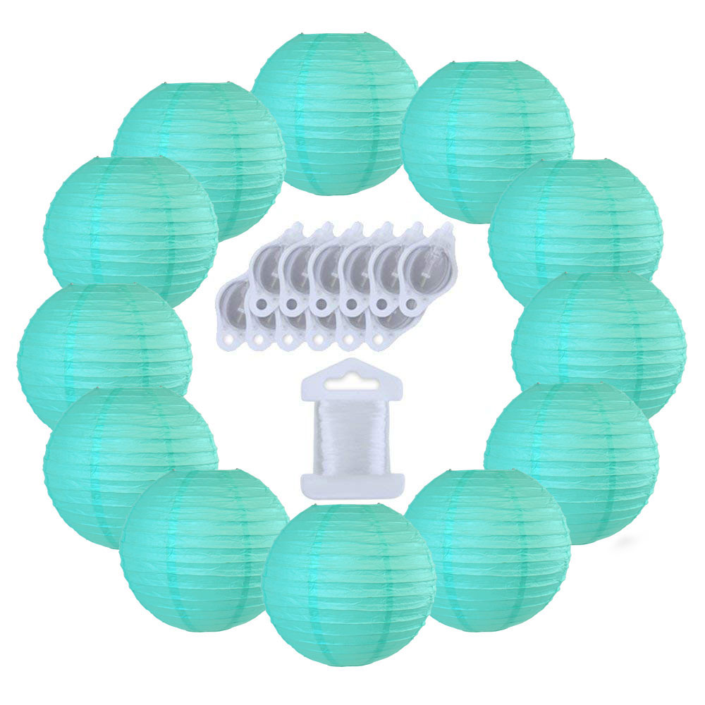 12inch Decorative Round Chinese Paper Lanterns 10pcs w/ 12pc LED Lights and Clear String (Color: Turquoise) - Premier