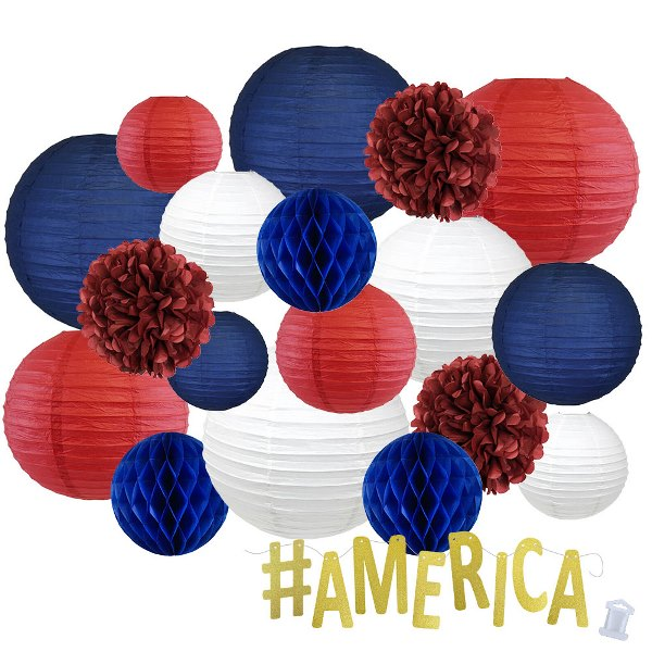 12pc Assorted Paper Lanterns w/ Gold Glitter Garland Letters (Never Forgotten, #America) - Premier