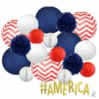 12pc Assorted Paper Lanterns w/ Gold Glitter Garland Letters (Patriotic, #America) - Premier