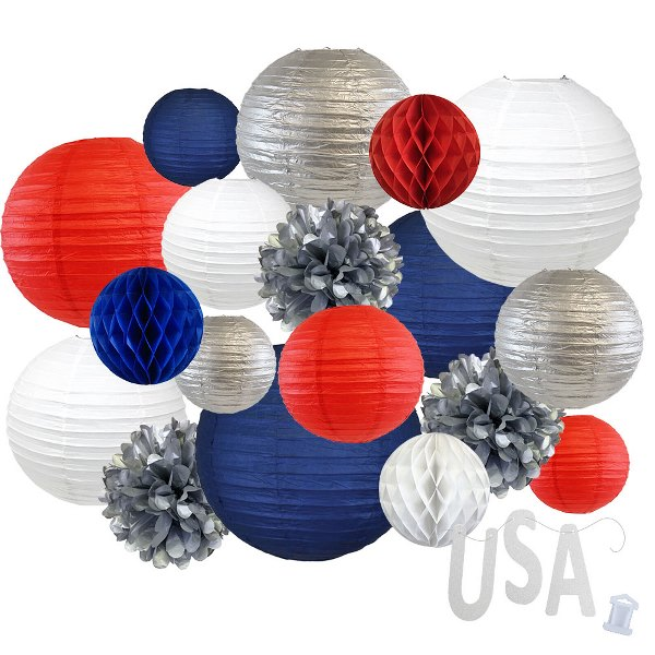12pc Assorted Paper Lanterns w/ Silver Glitter Garland Letters (Freedom Rings, USA) - Premier