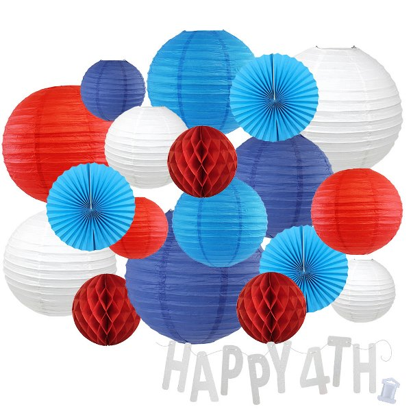 12pc Assorted Paper Lanterns w/ Silver Glitter Garland Letters (Liberty, Happy 4th) - Premier