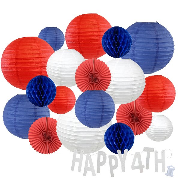 12pc Assorted Paper Lanterns w/ Silver Glitter Garland Letters (Party in the USA, Happy 4th) - Premier