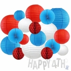 12pc Assorted Paper Lanterns w/ Silver Glitter Garland Letters (Red, White & Blue, Happy 4th) - Premier