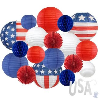 12pc Assorted Paper Lanterns w/ Silver Glitter Garland Letters (Stars & Stripes, USA) - Premier