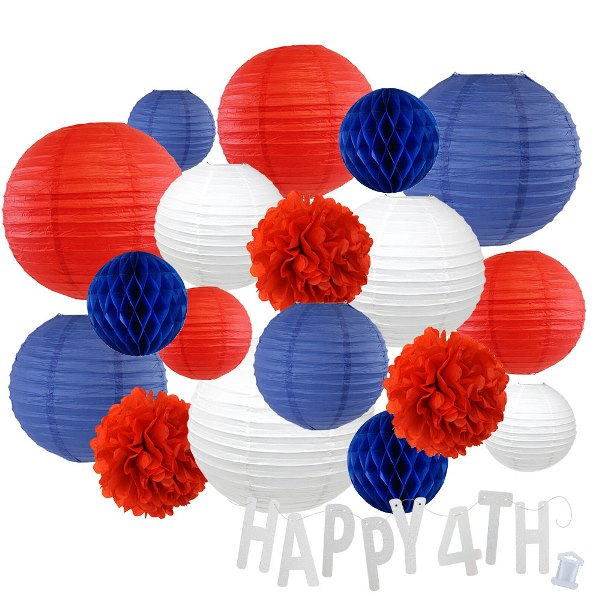 12pc Assorted Paper Lanterns w/ Silver Glitter Garland Letters (United Together, Happy 4th) - Premier