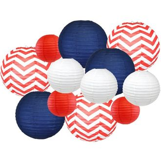 12pcs Assorted Decorative Round USA Holiday Paper Lanterns (America) - Premier