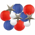 12pcs Assorted Decorative Round USA Holiday Paper Lanterns (Home of the Brave) - Premier