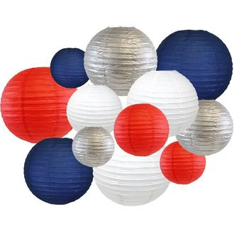 12pcs Assorted Decorative Round USA Holiday Paper Lanterns (Let Freedom Ring) - Premier
