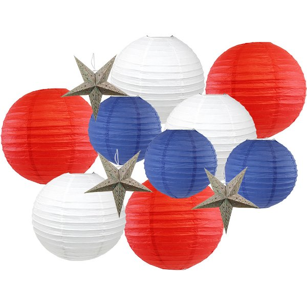 12pcs Assorted Decorative Round USA Holiday Paper Lanterns (Liberty) - Premier