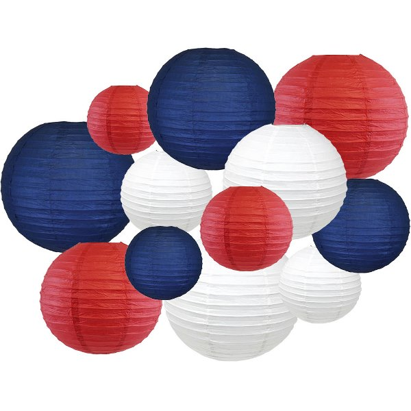 12pcs Assorted Decorative Round USA Holiday Paper Lanterns (Never Forgotten) - Premier