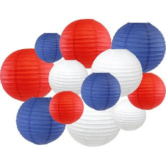 12pcs Assorted Decorative Round USA Holiday Paper Lanterns (Party in the USA) - Premier