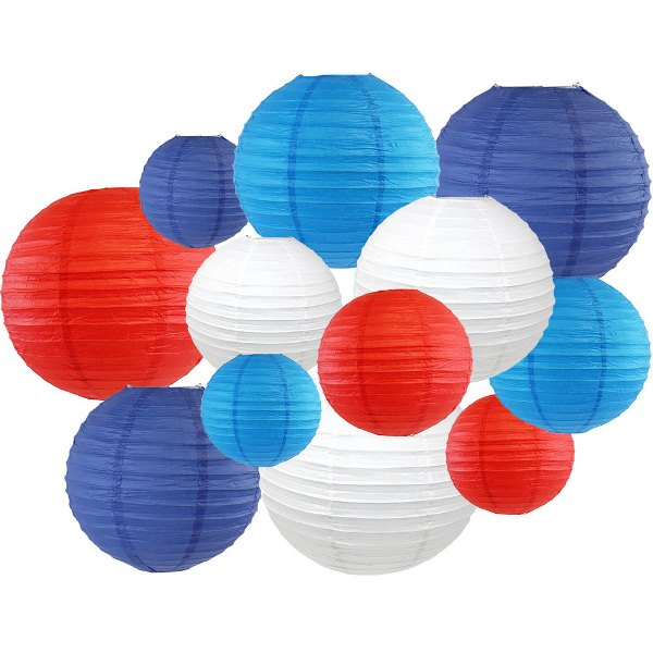 12pcs Assorted Decorative Round USA Holiday Paper Lanterns - Premier